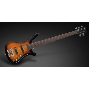 RockBass Corvette Classic 5-str. Almond Sunburst Transparent High Polish, Active, Fretted gitara basowa