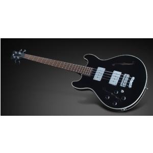 RockBass Star Bass 4-String, Solid Black High Polish, Fretted - Medium Scale - Lefthand gitara basowa