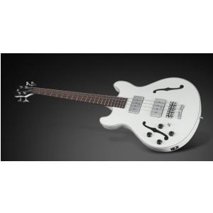 RockBass Star Bass 4-String, Solid Creme White High Polish, Fretted - Medium Scale - Leftthand gitara basowa