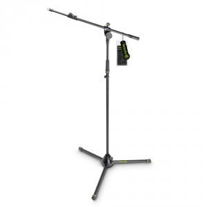 Gravity MS 4322 B Statyw mikrofonowy z trójnożną, składaną podstawą i dwupunktową regulacją wysięgnika wysuwanego czarny