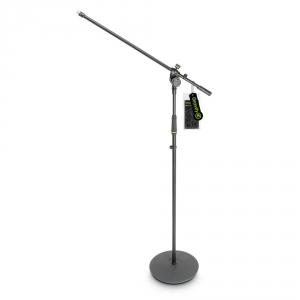 Gravity MS 2321 B statyw mikrofonowy z okrągłą podstawą i dwupunktową regulacją wysięgnika