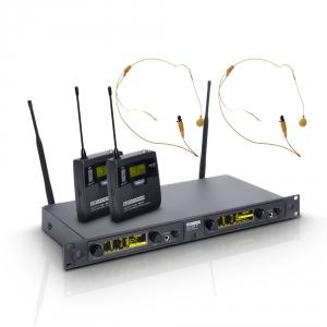 LD Systems WIN 42 BPHH 2 mikrofon bezprzewodowy nagłowny, podwójny, kolor beżowy