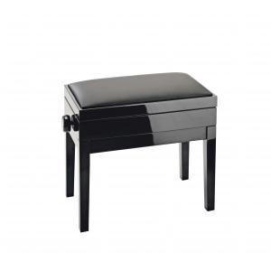 K&M 13951-200-21 ława do pianina ze schowkiem, czarny połysk, siedzisko czarne skóropodobne