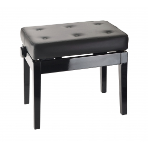K&M 13995-400-21 ława do pianina, czarny połysk, siedzisko czarna skóra