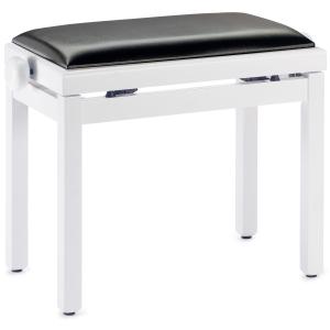 Stagg PB39 ława do pianina, biały mat, siedzisko czarny skaj