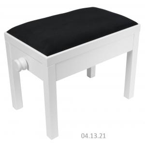 MStar Sonata ława do pianina, kolor: biały mat, siedzisko czarny welur