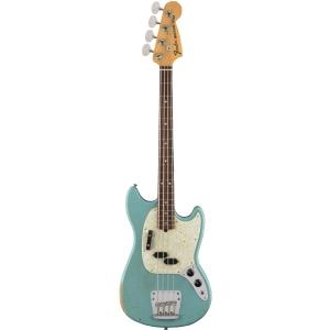 Fender JMJ Road Worn Mustang Bass Rosewood Fingerboard, Faded Daphne Blue gitara basowa