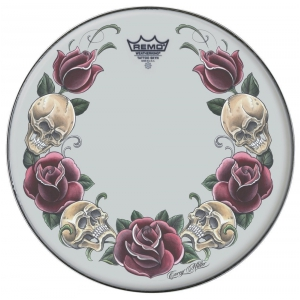 Remo Naciągi Tattoo Skyn Powerstroke 3 Bassdrum 22 Tattoo Rock and Roses biały PA-1322-TT-T05