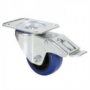 Adam Hall Hardware 372091 - Kółko zwrotne 80 mm z niebieską oponą i ogranicznikiem