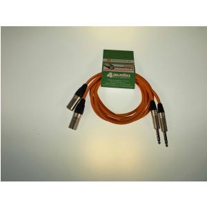 4Audio Monitor Set zestaw przewodów do monitorów studyjnych 2 x 1,5m  XLRm TRS (pomarańczowy) Neutrik