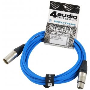 4Audio MIC PRO 3m Blue przewód mikrofonowy XLR-F - XLR-M z  (...)