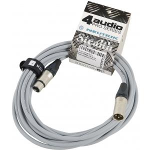 4Audio MIC PRO 6m Grey przewód mikrofonowy XLR-F - XLR-M z  (...)