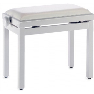Stagg PB39 ława do pianina, biały połysk, siedzisko biały  (...)