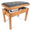 MStar Sonata Plus ława do pianina, kolor: czereśnia, siedzisko: czarna skóra naturalna - pikowana