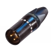 Neutrik NC3MXX-B CRYSTAL złącze kablowe męskie, czarne złocone, kryształy Swarovski