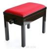 MStar Sonata ława do pianina, kolor: czarny połysk, siedzisko czerwony welur