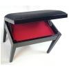 MStar Etiuda S ława do pianina ze schowkiem na nuty, kolor: czarny połysk, siedzisko: czarny welur