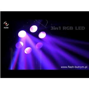 Flash LED Six Hole RGB 3w1 20W efekt świetlny